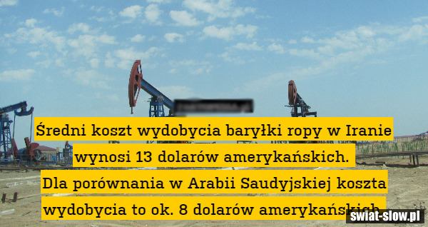 Koszt wydobycia baryłki ropy w Iranie